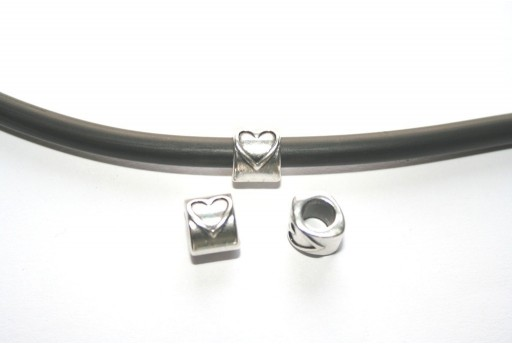 Heart Slider Bead 10x8mm - 2pc