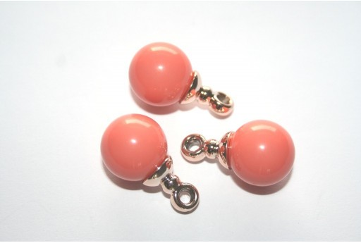 Charms in Acrilico Salmone Sfera 16mm - 2pz.
