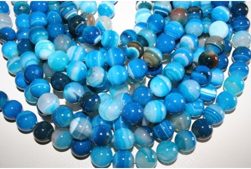 Agate Beads Veined Blue Sphere 12mm - 32pz