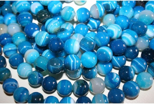 Agate Beads Veined Blue Sphere 14mm - 27pz