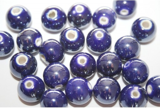 Ceramic Beads Round Blue 12mm - 4pz