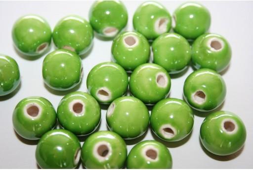 Perline di Ceramica Verde Tondo 12mm - 4pz