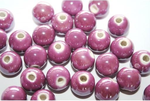 Perline di Ceramica Viola Tondo 12mm - 4pz