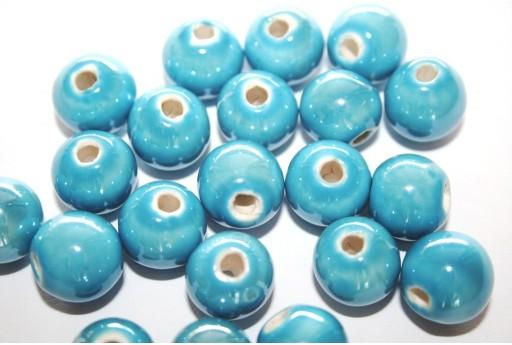Perline di Ceramica Azzurra Tondo 12mm - 4pz