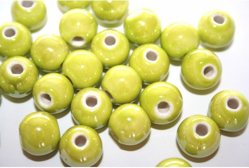 Perline di Ceramica Verde Chiaro Tondo 12mm - 4pz