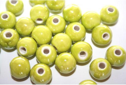 Ceramic Beads Round Light Green 12mm - 4pz