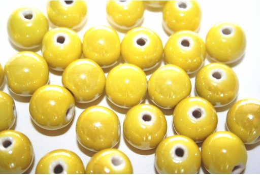Ceramic Beads Round Yellow 12mm - 4pz