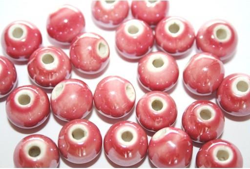 Perline di Ceramica Rosa Antico Tondo 12mm - 4pz