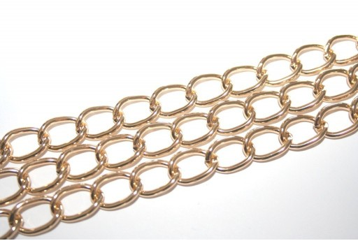 Aluminium Gold Oval Twist Chain 15x10mm - 1m
