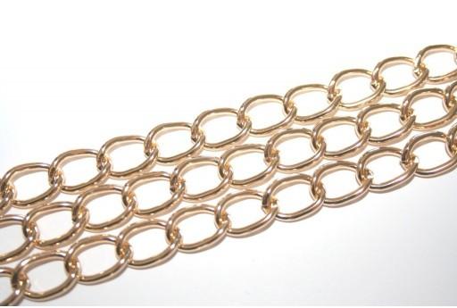 Catena Alluminio Oro Ovale Twist 15x10mm - 1mt