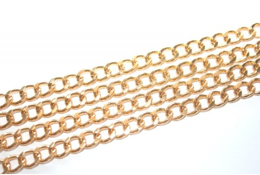 Aluminium Gold Oval Twist Chain 9x7mm - 1m