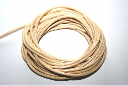 Beige Waxed Polyester Cord 2mm - 5mt