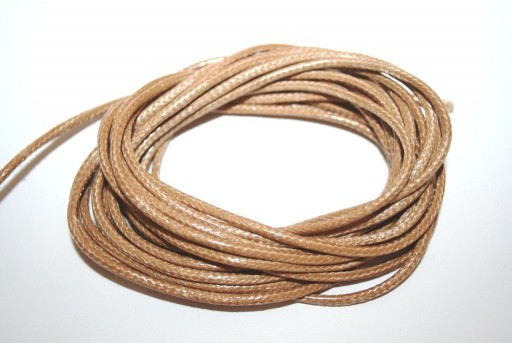 Light Brown Waxed Polyester Cord 2mm - 5mt
