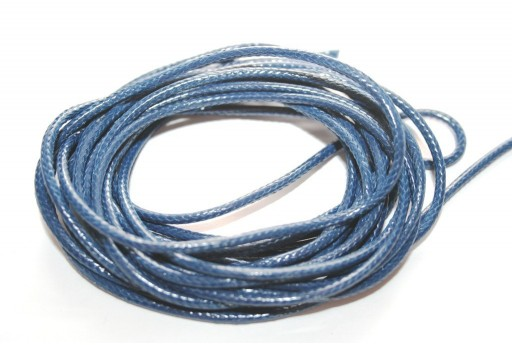 Blue Waxed Polyester Cord 2mm - 5mt