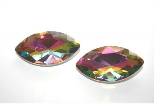 Glass Cabochon Crystal Multicolor 17x32mm - 1pz