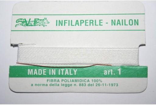 White Nylon Thread With Needle Size 1 - 2pcs