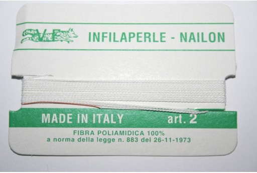 Filo Nylon Infilaperle con Ago Bianco Misura 2 - 2pz