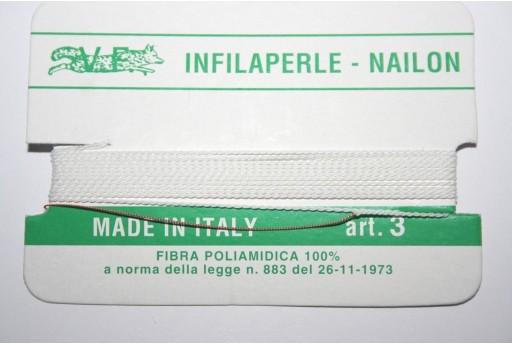 Filo Nylon Infilaperle con Ago Bianco Misura 3 - 2pz