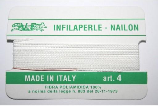 Filo Nylon Infilaperle con Ago Bianco Misura 4 - 2pz
