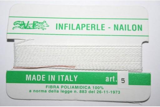 Filo Nylon Infilaperle con Ago Bianco Misura 5 - 2pz