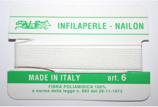 Filo Nylon Infilaperle con Ago Bianco Misura 6 - 2pz