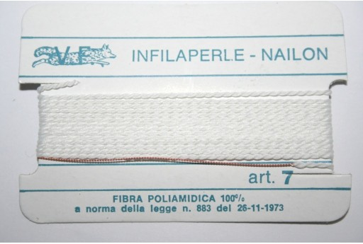 Filo Nylon Infilaperle con Ago Bianco Misura 7 - 2pz