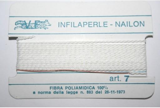 White Nylon Thread With Needle Size 7 - 2pcs