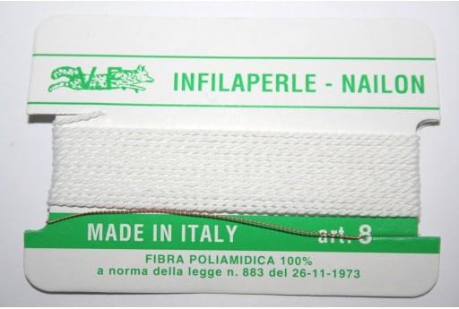 Filo Nylon Infilaperle con Ago Bianco Misura 8 - 2pz