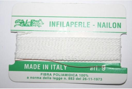Filo Nylon Infilaperle con Ago Bianco Misura 9 - 2pz