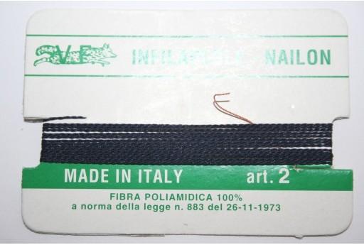 Blue Nylon Thread With Needle Size 2 - 2pcs