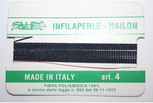 Blue Nylon Thread With Needle Size 4 - 2pcs