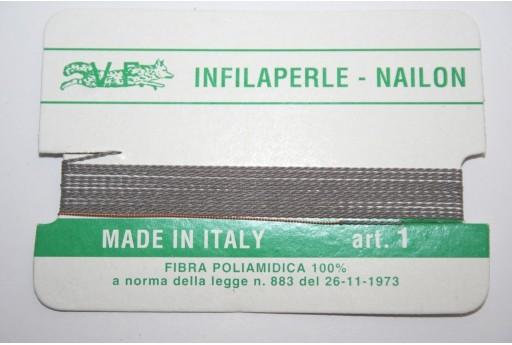 Grey Nylon Thread With Needle Size 1 - 2pcs
