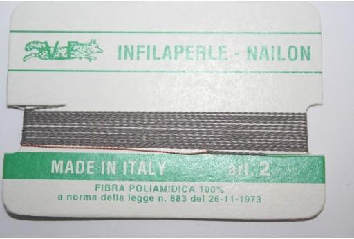 Grey Nylon Thread With Needle Size 2 - 2pcs