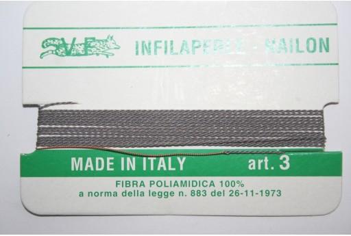Grey Nylon Thread With Needle Size 3 - 2pcs