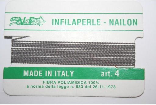 Grey Nylon Thread With Needle Size 4 - 2pcs