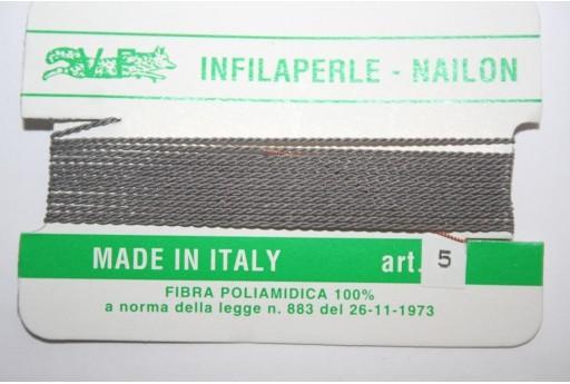 Filo Nylon Infilaperle con Ago Polvere Misura 5 - 2pz