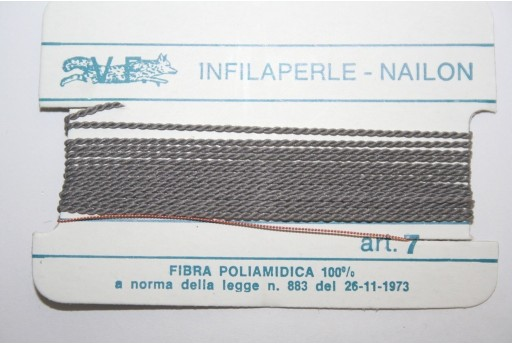Grey Nylon Thread With Needle Size 7 - 2pcs