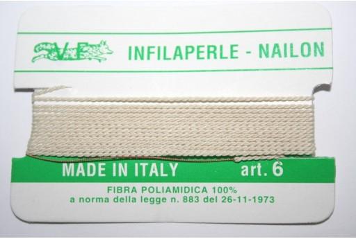 Beige Nylon Thread With Needle Size 6 - 2pcs