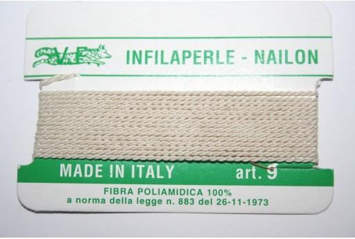 Beige Nylon Thread With Needle Size 9 - 2pcs