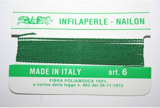Green Nylon Thread With Needle Size 6 - 2pcs