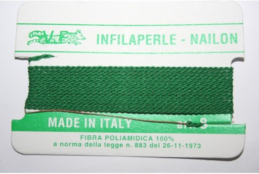 Green Nylon Thread With Needle Size 8 - 2pcs