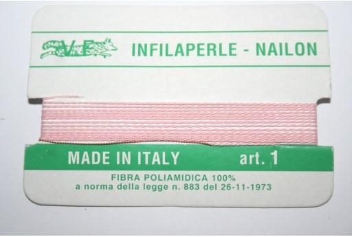 Filo Nylon Infilaperle con Ago Rosa Misura 1 - 2pz