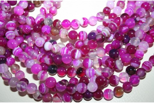 Agate Beads Veined Fuchsia Sphere 8mm - 48pz