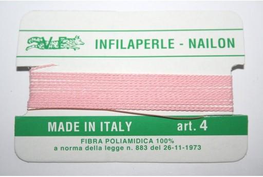 Pink Nylon Thread With Needle Size 4 - 2pcs