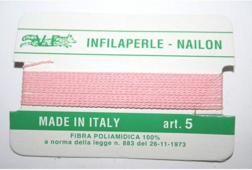 Pink Nylon Thread With Needle Size 5 - 2pcs