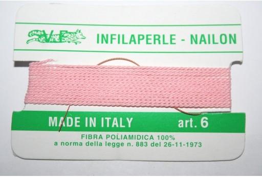 Pink Nylon Thread With Needle Size 6 - 2pcs