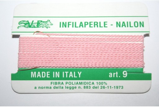 Pink Nylon Thread With Needle Size 9 - 2pcs