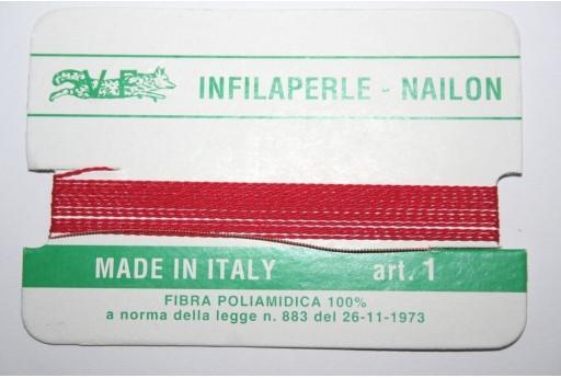 Filo Nylon Infilaperle con Ago Rosso Misura 1 - 2pz