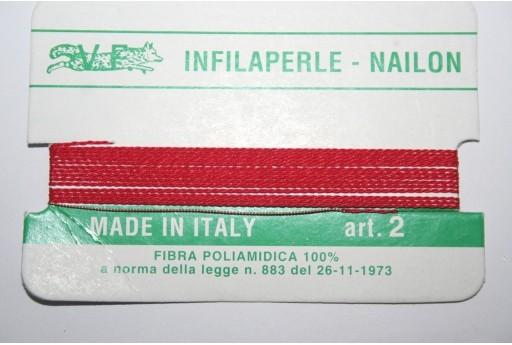 Filo Nylon Infilaperle con Ago Rosso Misura 2 - 2pz