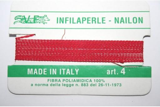 Filo Nylon Infilaperle con Ago Rosso Misura 4 - 2pz